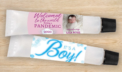 SHOP CUSTOM BIRTH ANNOUNCEMENT HAND SANITIZER