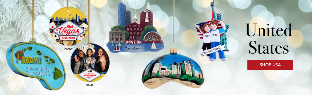 Personalized United States Christmas Ornaments
