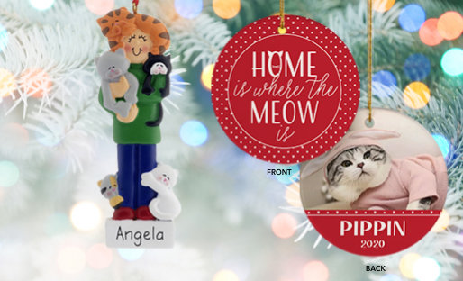 Personalized Cat Christmas Ornaments