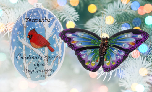 Personalized Birds & Insects Christmas Ornaments