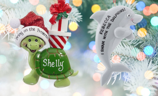 Personalized Fish & Sea Life Christmas Ornaments