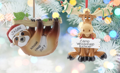 Personalized Zoo Animals Christmas Ornaments