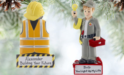 Personalized Construction Christmas Ornaments