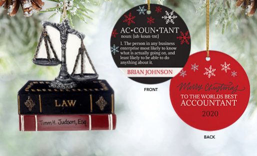 Personalized Lawyers & Accountants Christmas Ornaments