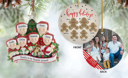 Family of 6 Personalized Christmas Ornaments