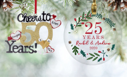 Anniversary Personalized Christmas Ornaments