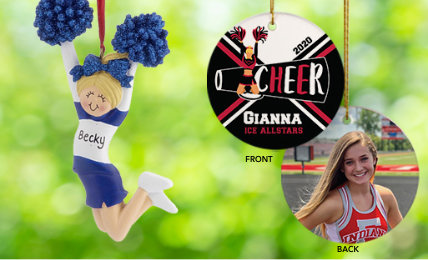 Cheerleading Personalized Christmas Ornaments