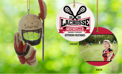 Lacrosse Personalized Christmas Ornaments