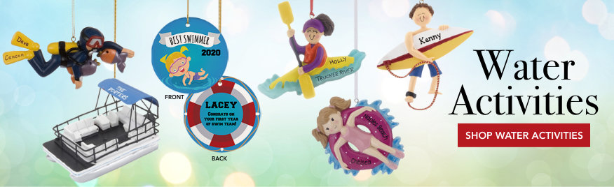 Water Activities Personalized Christmas Ornaments
