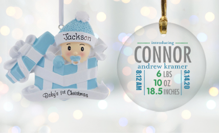 Personalized Baby Boy Ornaments