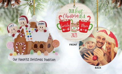 Family of 3 Personalized Christmas Ornaments