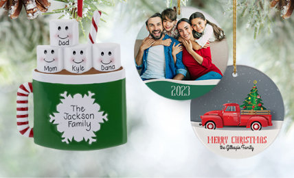 Family of 4 Personalized Christmas Ornaments