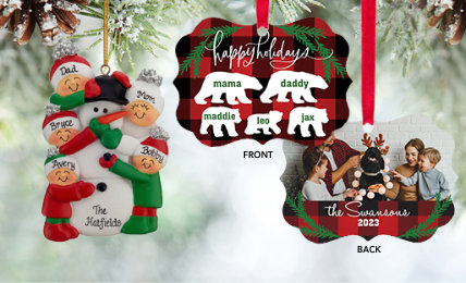 Family of 5 Personalized Christmas Ornaments