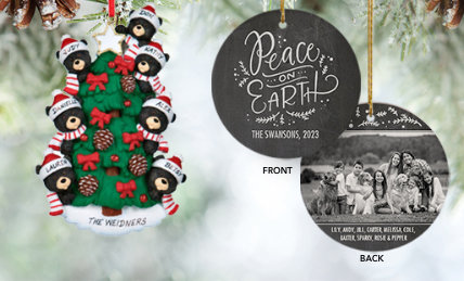 Family of 7 Personalized Christmas Ornaments