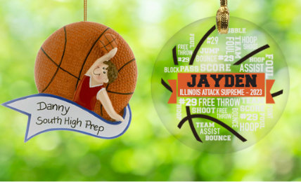 Basketball Personalized Christmas Ornaments