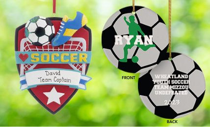 Soccer Personalized Christmas Ornaments
