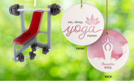Exercise & Fitness Personalized Christmas Ornaments
