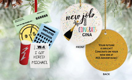 New Job Personalized Christmas Ornaments