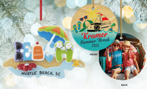Personalized Beach Travel Ornaments