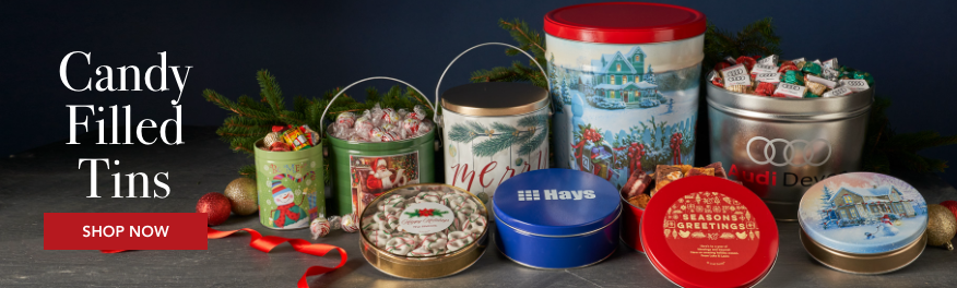Candy filled holiday tins