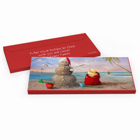 Deluxe Personalized Christmas Tropical Snowman Candy Bar Favor Box