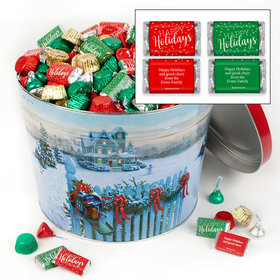 Personalized Christmas Mail Happy Holidays Hershey's Mix Tin - 14 lb