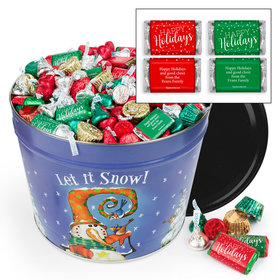 Personalized Frosty Friends Hershey's Holiday Mix Tin - 14 lb