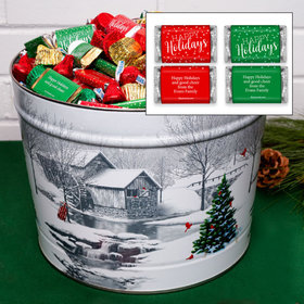 Personalized Snow Covered Mill Happy Holidays Hershey's Mix Tin - 14 lb