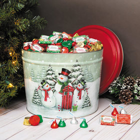 Personalized Snow Family Merry Christmas Hershey's Mix Tin - 14 lb