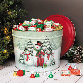 Personalized Snow Family Merry Christmas Hershey's Mix Tin - 10 lb