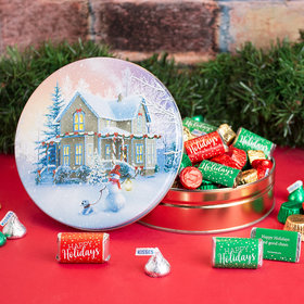 Personalized All Decked Out Snow Family Hershey's Happy Holiday Mix Tin - 1 lb