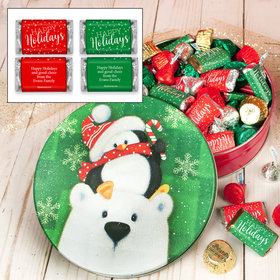 Personalized Cold But Cozy Snow Family Happy Holiday Mix Tin - 1 lb