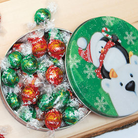 Cold but Cozy Christmas Gift Tin Lindor Truffles by Lindt - 24pcs