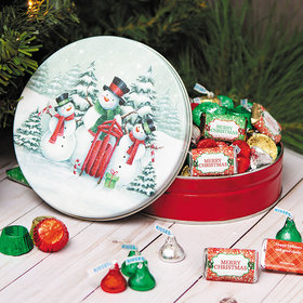 Personalized Snow Family Merry Christmas Hershey's Holiday Mix Tin - 1 lb
