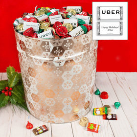 Personalized Shining Snowflakes Add Your Logo Hershey's Mix Tin - 20 lb