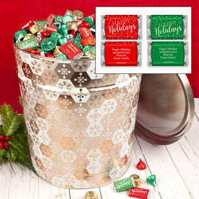 Personalized Shining Snowflakes Happy Holidays Hershey's Mix Tin - 20 lb
