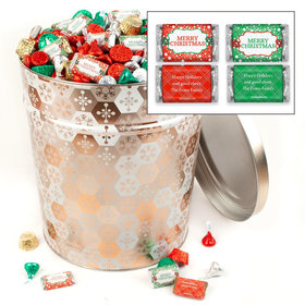 Personalized Shining Snowflakes Merry Christmas Hershey's Mix Tin - 20 lb