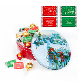 Personalized Happy Holidays Hershey's Miniatures & Lindt Truffles Christmas Mail Tin - 1.8 lb