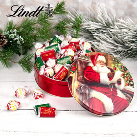 Happy Holidays Hershey's Miniatures & Peppermint Lindt Truffles Checking It Twice Christmas Tin - 1.8 lb