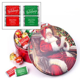 Personalized Happy Holidays Hershey's Miniatures & Lindt Truffles Checking It Twice Christmas Tin - 1.8 lb