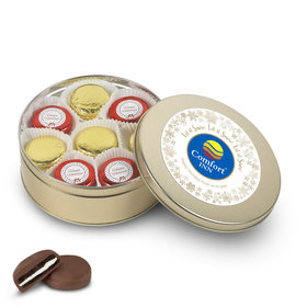 Personalized Chocolate Covered Oreo Cookies Add Your Logo' Gold Holiday Tin