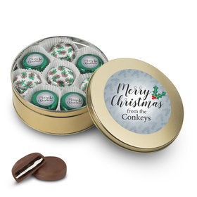 Personalized Chocolate Covered Oreo Cookies Merry Christmas Gold Holly Tin