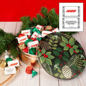 Personalized Golden Pinecones Add Your Logo Hershey's Mix Tin - 2 lb