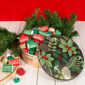 Personalized Golden Pinecones Happy Holidays Hershey's Mix Tin - 2 lb