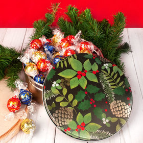 Golden Pinecones Christmas Gift Tin Lindor Truffles by Lindt - 45pcs