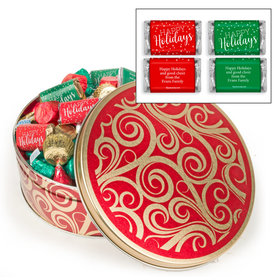 Personalized Golden Swirls Happy Holidays Hershey's Mix Tin - 2 lb