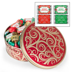 Personalized Golden Swirls Merry Christmas Hershey's Mix Tin - 2 lb