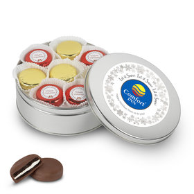 Personalized Chocolate Covered Oreo Cookies Add Your Logo' Silver Holiday Tin