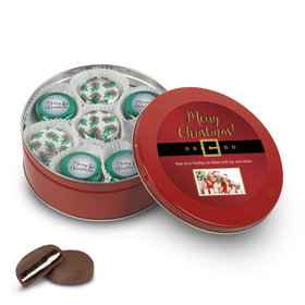Personalized Chocolate Covered Oreo Cookies Merry Christmas Photo Red Holly Tin