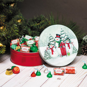 Personalized Snow Family Merry Christmas Hershey's Mix Tin - 2 lb